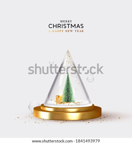 Christmas tree and pine fluffy with gift design. Cone glass pyramid with Christmas and New Year composition. Festive decorative realistic object. holiday background. vector illustration.