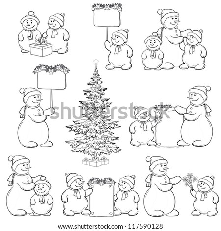 Christmas tree and set cartoon snowman with gifts and a banners for your text, black contour on white background. Vector