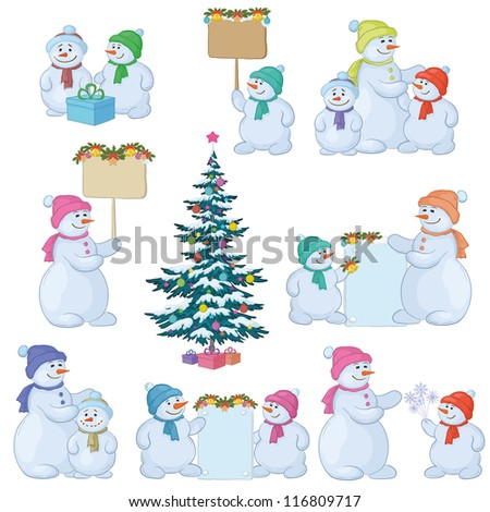 Christmas tree and set cartoon snowman with gifts and a banners for your text. Vector