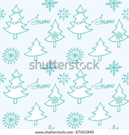 Christmas tree and snowflake seamless pattern