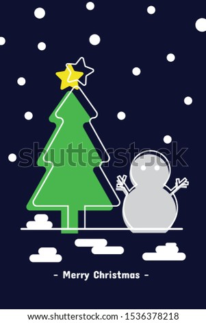 Christmas tree and snowman with snow falling - design for greeting card and multi purpose - Vector illustration