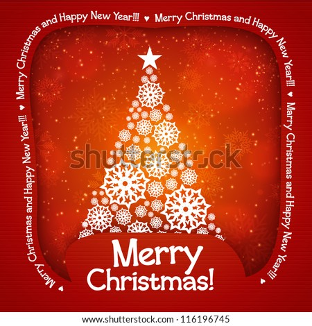 Christmas tree applique background. Vector illustration for your design.