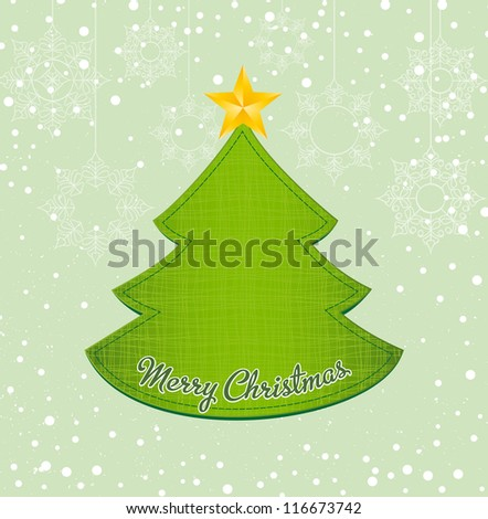 Christmas tree applique on snowy background