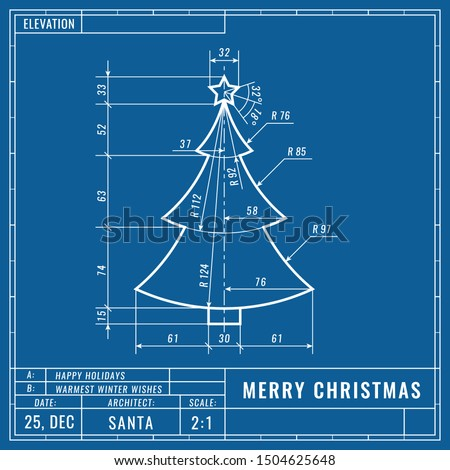 Christmas tree as technical blueprint drawing. Christmas technical concept. Mechanical engineering drawings.
