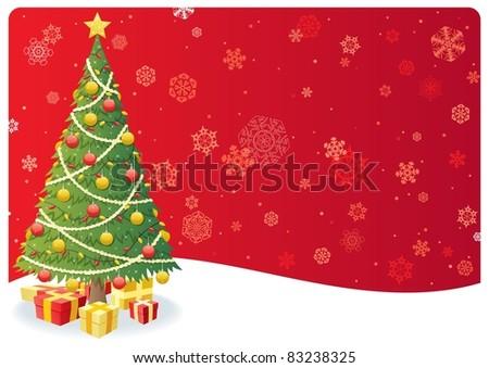 Christmas Tree Background 3: Cartoon Christmas background with Christmas tree and snow. No transparency used. Basic (linear) gradients.