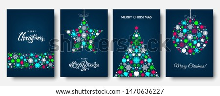 Christmas tree, ball with  gold, red , white holiday pattern from snowflakes, xmas elements and decorations. Vector flat illustration for greeting card, poster or invitation.