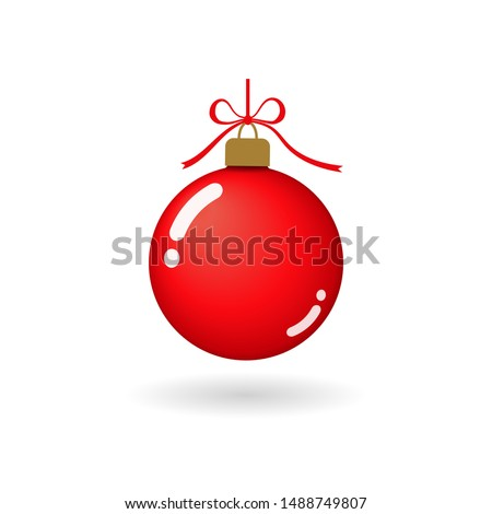 Christmas tree ball with ribbon bow. Red bauble decoration, isolated on white background. Symbol of Happy New Year, Xmas holiday celebration, winter. Flat design for card Vector illustration Stock photo ©
