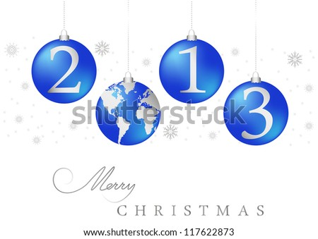 christmas tree balls 2013 - stock vector