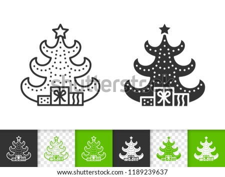Christmas Tree Black Linear And Silhouette Icons Thin Line Stylized Spruce Sign Fir Farm