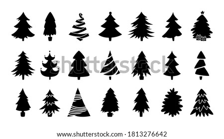 Christmas tree black silhouette collection. Hand drawing monochrome xmas trees cartoon set. New Year traditional design ornaments, stars, garlands. Stylized symbol for holiday flat vector illustration