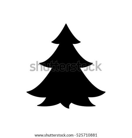 Christmas tree black vector icon