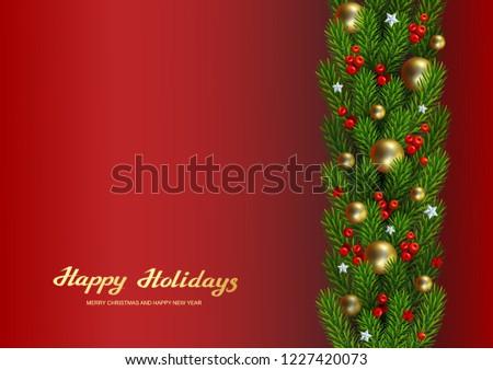 Christmas tree border with holiday decor  #1227420073