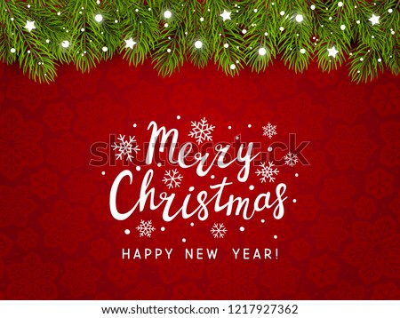 stock-vector-christmas-tree-border-with-holiday-decor-on-red