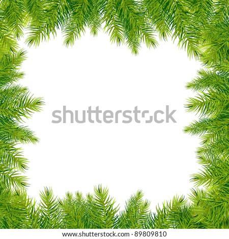 Christmas Tree Branches Border, Isolated On White Background, Vector Illustration