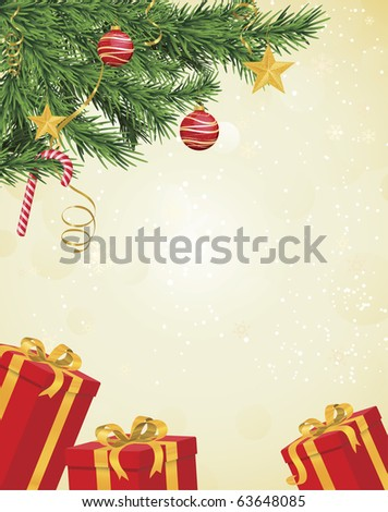 Christmas tree branches in corner over hanging pale yellow background with red and gold gifts underneath