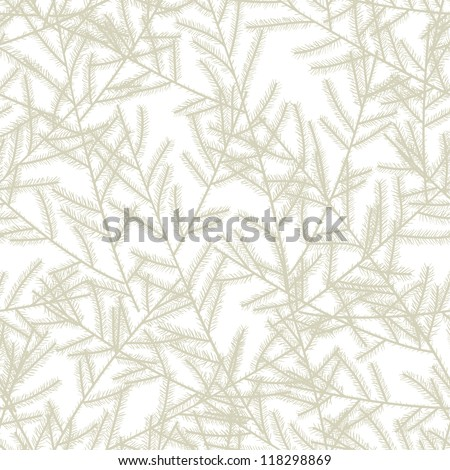 Christmas tree branches. Seamless pattern. Vector illustration - stock vector