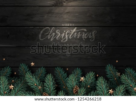 Christmas tree branches with fir-cones, gold stars and beads on dark wooden background.