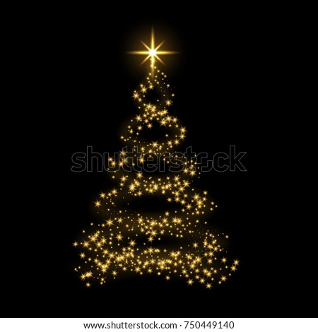 Christmas tree card background. Gold Christmas tree as symbol of Happy New Year, Merry Christmas holiday celebration. Golden star decoration. Bright shiny design Vector illustration #750449140