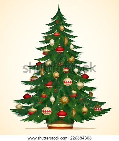 Christmas tree card \ poster \ banner. Vector illustration.