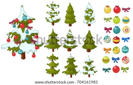 christmas tree christmas balls decorate a christmas tree game vector set - Christmas Tree Game