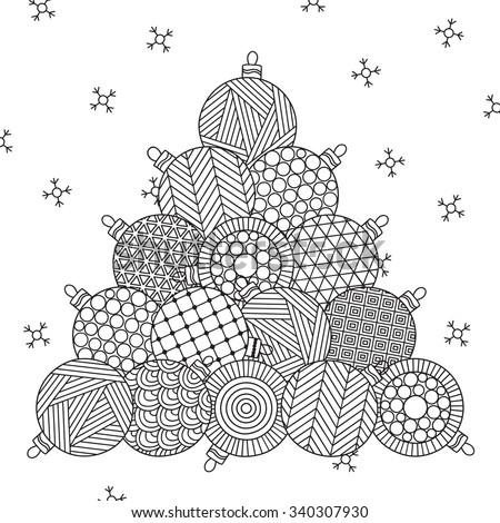Stock Photo Christmas tree. Christmas hand drawn decorative elements in vector. Pattern for coloring book. Christmas balls. Black and white pattern. Can be used for web page background, postcard, card, poster.