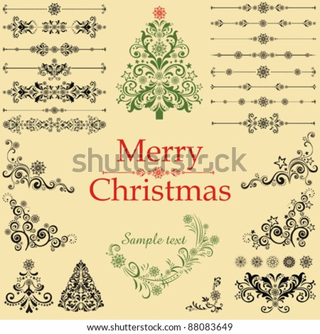 Christmas tree. Collection of Christmas design elements isolated on White background. Vector illustration