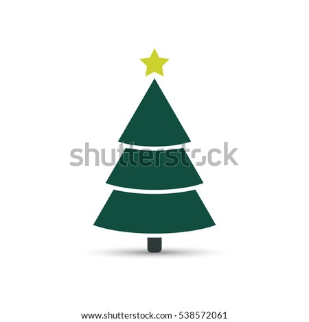 Christmas tree color icon, vector flat design. Fir-tree sign. #538572061