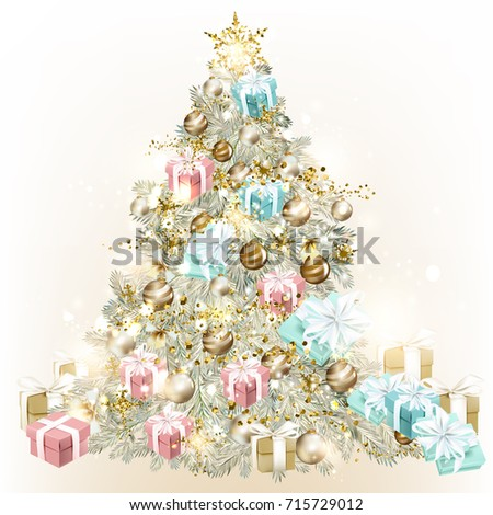 Christmas tree decorated by baubles and gifts