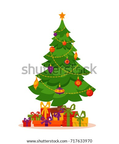 Shutterstock Christmas tree decorated vector illustration. Star, decoration balls and light bulb chain, gift boxes in colorful cartoon flat style. Merry Christmas and a happy New Year design for greeting cards.