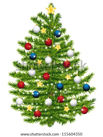 Christmas tree decorated with red, white and blue ornaments. Vector illustration.