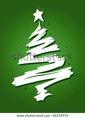 Christmas Tree Design Featuring a Trail of Paint Shaped Like a Christmas Tree - stock vector