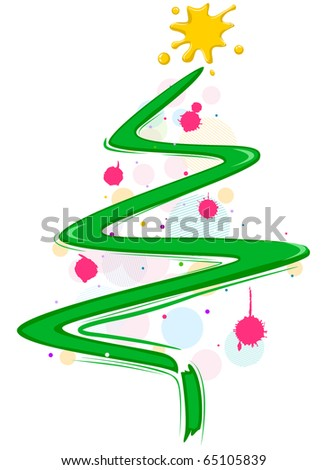 Christmas Tree Design Featuring Random Paint Spatters and Brush Strokes