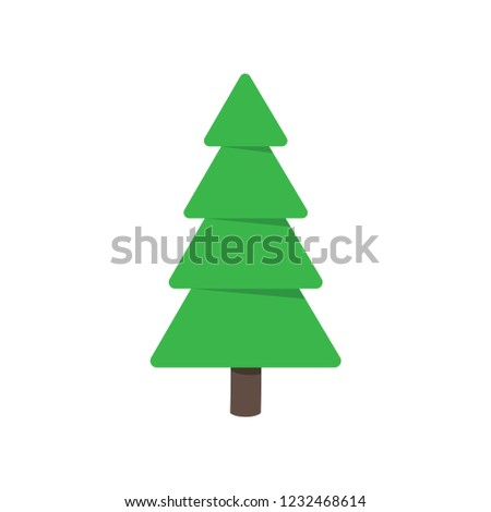 Christmas tree fir flat style design icon sign vector illustration. Symbol of family xmas holiday celebration isolated on white background.  Simple shape for holyday. Merry christmas, happy new year #1232468614