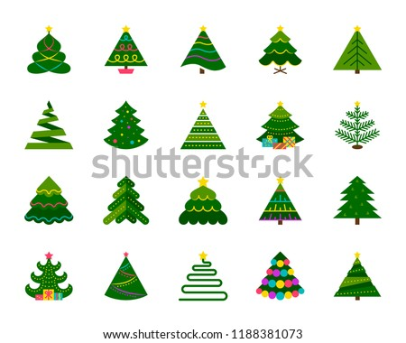 Christmas Tree flat icons set. Web sign stylized spruce kit. Fir Farm pictogram geometric style, gift box, pine. Simple christmas tree cartoon colorful icon symbol isolated white. Vector Illustration