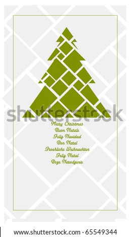 Christmas tree for illustrated greeting card