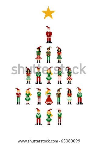 Christmas tree formed by different funny season pixeled characters.