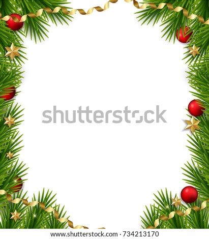 Christmas tree frame. Vector christmas template with  fir branches and decorations, balls, stars, confetti