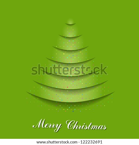 Christmas tree from cutting paper and fall confetti. EPS 10 vector illustration. Used effect transparency layers of shadow and confetti - stock vector