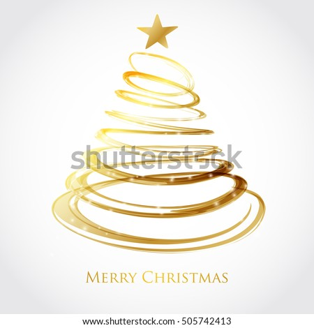 Christmas tree from gold spiral with star on top. Card design. Holiday vector background.