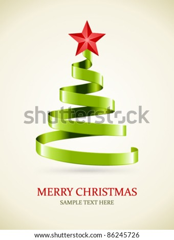Christmas tree from green ribbon and star vector background. Eps 10.