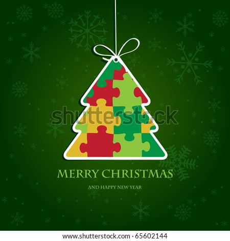 Christmas tree from jigsaw puzzle. Christmas card with bright colors. Paper christmas tree. Vector illustration for christmas poster, card, t-shirt or web.