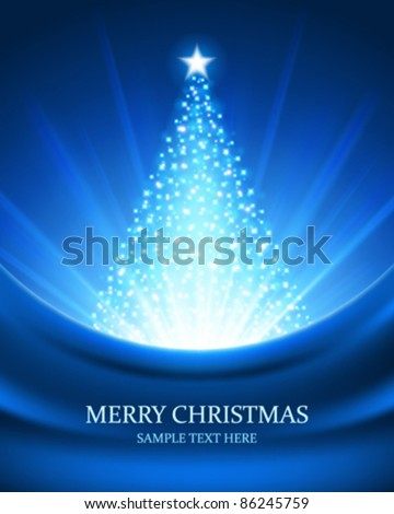 Christmas tree from light vector background. Eps 10.