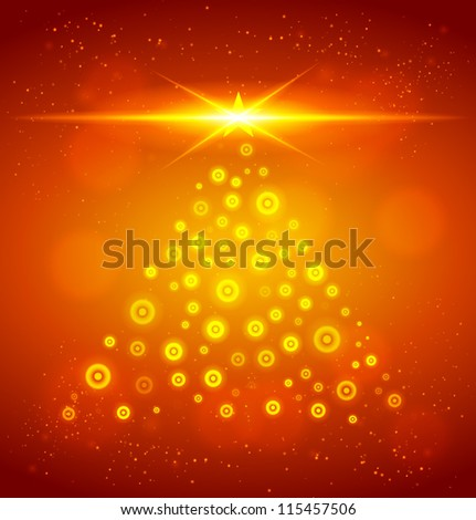 Christmas tree from light. Vector illustration.