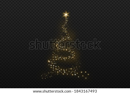 Christmas tree gold bokeh glitter particles isolate on png or transparent  background with sparkling  snow, star light  fo , New Year, Birthdays, Special event, luxury card,  rich style.   stock photo