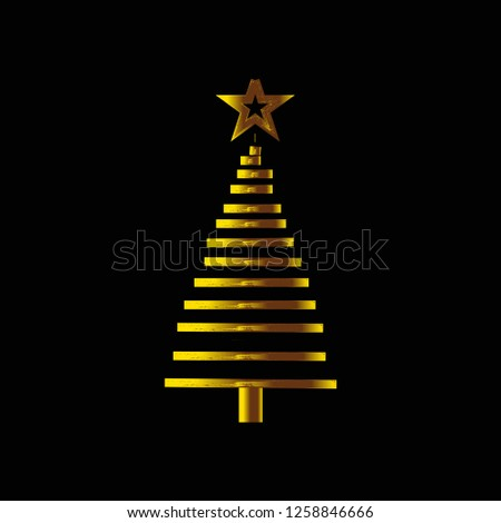 Christmas tree. Gold Christmas tree as symbol of Happy New Year, Merry Christmas holiday celebration. Golden light decoration. Bright shiny design Vector illustration - Vector #1258846666