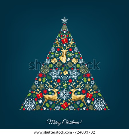 Christmas tree. Golden, red, green, white  decoration.Colorful  pattern.  Happy New Year background. Gold Xmas  reindeer, gifts,  snowflakes. Vector template  for greeting  card.