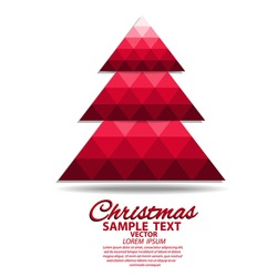 Christmas tree greeting card- polygonal design