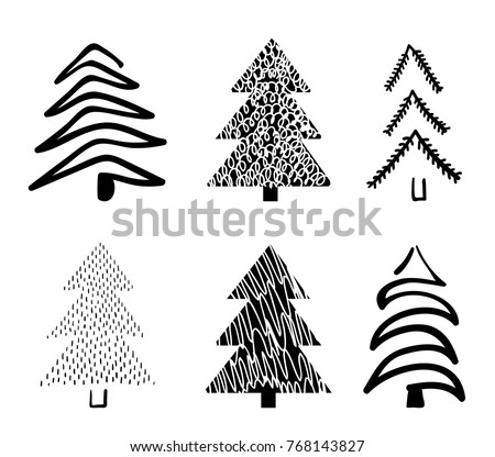 Sketched Christmas Tree Design Download Free Vector Art Stock