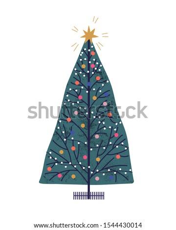 christmas tree hand drawn