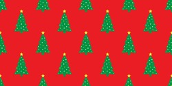 Christmas tree Happy new year wood forest snow Santa Claus vector seamless pattern wallpaper background